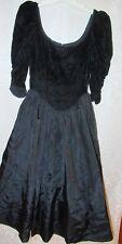 Vtg Gunne Sax Black Velvet Taffeta Dress Edwardian Renaissance Steampunk Goth S