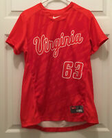 Virginia Cavaliers UVA Women's Softball Game Worn Orange White Jersey Large