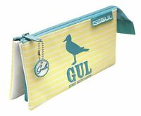 Maped Helix Pencil Case GUL Stripe 3 Pocket Zipped School Stationery Office Pens