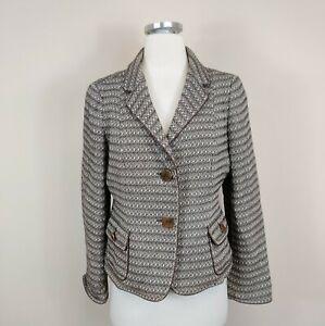 Talbots 10 Petite Blazer Jacket Brown Wool Cotton Career Work Womens
