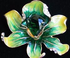 "GREEN YELLOW RHINESTONE ROSE LILY IRIS ORCHID FLOWER PIN BROOCH JEWELRY 2"" 3D"