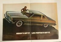 1977 Pontiac Bonneville 2 Door Coupe Print Ad Brochure Fold Out 2 Page