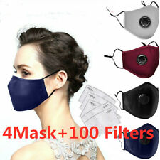 4 Washable & Reusable Anti Dust Face Mask W/ Respirator & 100 PM2.5 Filters