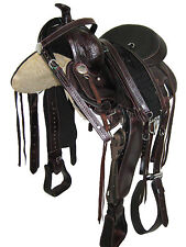 "WESTERN GAITED HORSE SADDLE PKG 'THSL' DARK CHERRY 18"" - MATT TOOLING (1071)"