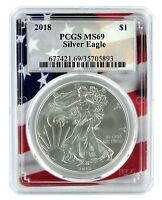 2018 1oz Silver Eagle PCGS MS69 - Flag Frame