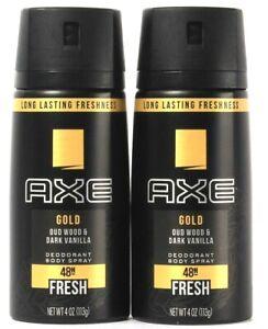 2 Count Axe 4 Oz Gold OUD Wood & Dark Vanilla 48H Freshness Deodorant Body Spray