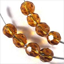 Lot de 20 perles à FACETTES 6mm en Cristal DE Bohème Topaze