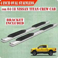 """Fit 04-18 Nissan Titan Crew Cab 4"""" Running Boards Side Step Nerf Bar Chrome Oval"""