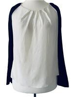 Sandro Off White 100% Silk Blouse Black Puff Sleeves Sheer Elegant Top Size 12