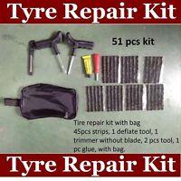 Emergency Car Van Motorcycle Tubeless Tyre Puncture Repair Kit 51 Pieces