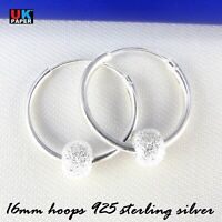 925 STERLING SILVER 16mm HOOP EARRINGS WITH STARDUST BALL BEADS SOLID NOSE RINGS