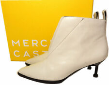 $475 Mercedes Castillo Kasuri Pointy Toe Booties Ankle Boots Ivory Patent Sz 7