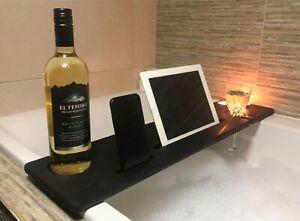 Wooden Black Bath Tray Shelf Caddy Bath Bar Wine Glass Phone Tablet Holder BBBL