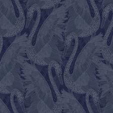 Odette Cygne Papier Peint Bleu Saphir - Muriva 151103 Pailleté