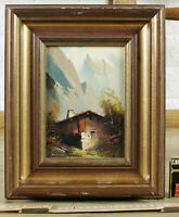 Unreadable Signed Oil Painting Older Alps Alpine Hut Panorama Alps Mountains