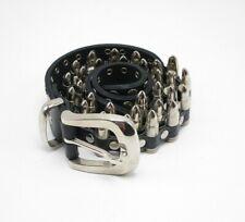 Mens Fallen Black Leather Faux Bullet Belt Size 36 Silver Hardware Punk Rock