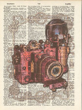 Steampunk Camera Bronze Gears Altered Art Print Upcycled Vintage Dictionary
