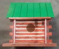 New ListingLog Cabin Bird House Wooden, Hand Painted