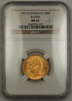 1911-G Empire of Germany Gold Twenty Mark 20m Baden NGC MS-61 SG