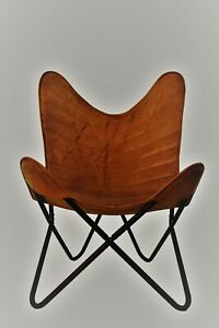 Chair Handmade genuine Leather foam Butterfly Brown Vintage Real Seat Cover