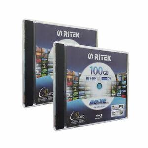 2 pk RITEK Bluray BD-RE XL Rewritable BDXL 100GB Triple Layer 2X White Printable