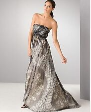 Laila Butterfly Printed Silk Chiffon Strapless Gown