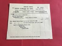 John Corah & Son Loughborough Bookbinders  1940 receipt  R36643