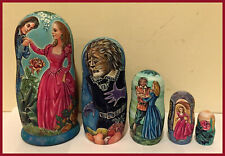 Exclusive quality Russian Nesting dolls Matreshka Beauty and the Beast 5 pc set
