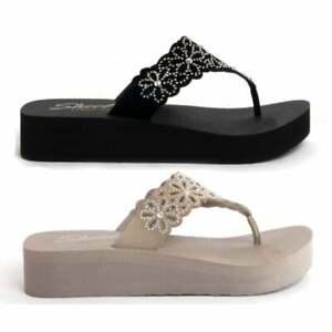 Skechers VINYASA PRETTY THANG Ladies Womens Casual Platform Flip Flops Sandals