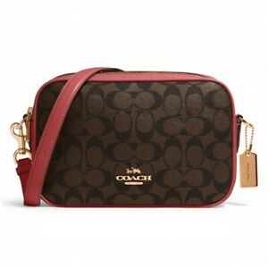 NWT COACH Jes Crossbody Canvas Monogram Double Zip Brown 1941 Red 68168 FREE SHP