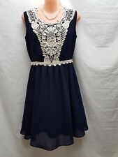 CAROLINE MORGAN NAVY BLUE  EMBROIDERED PANEL FRONT PARTY RACES DRESS SIZE 8