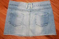 ABERCROMBIE & FITCH Womens Frayed Light / Medium Wash Jeans Mini Skirt Denim
