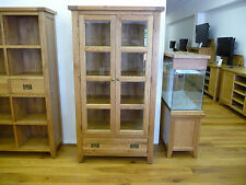 VANCOUVER PREMIUM LARGE SOLID OAK GLAZED CABINET AND SHELVES VXA002