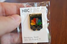 1992 Barcelona Spain Olympic NBC Logo & Rings Media PIN Event Badges TV Network