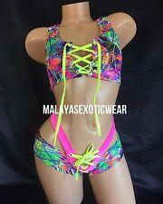 Exotic Dancer Stripper UV Glow Sparkle Lace Up Scrunch Butt Shorts Dancewear Set