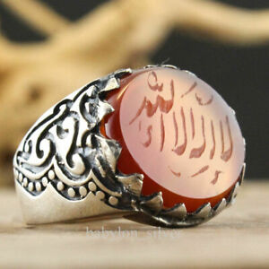 925 Sterling Silver Red Agate Stone Turkish Handmade Islamic Men's Ring All Size