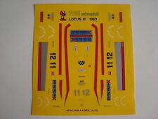 1/43 F1 Autocollants Voiture Lotus 81 F1 1980 Andretti-De Angelis FDS AUTOMODELLI