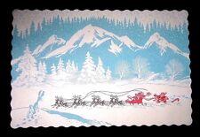 Lot of 12 UNUSED Vintage 1952 Paper Christmas Placemats Santa Reindeer Sleigh