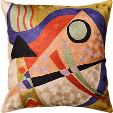 "Kandinsky Abstract Composition II Toss Pillow Cover Orange Navy Art Silk 18""x18"""