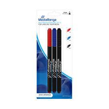 3 Mediarange Cd Dvd Permanent Marker Pen Set Blue Red Black Mr701 07mm Fine Tip