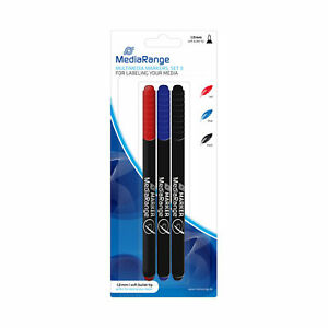 3 MediaRange CD DVD Permanent Marker Pen Set Blue Red Black MR701 0.7mm fine tip