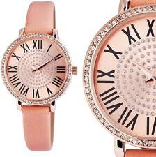 Damen Armbanduhr Rosa/Rosé Crystal-Besatz Kunstlederarmband von Excellanc