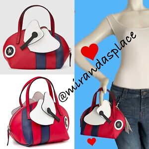 NEW Gucci Kids Teen Girl Red White Navy Bee Handle appliqued Small Bag Pouch