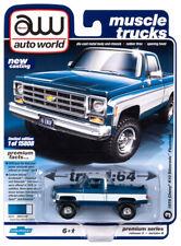 2020 AUTO WORLD 1:64 *PREMIUM 3B* BLUE 1978 Chevy Silverado K-10 Lifted 4x4 NIP