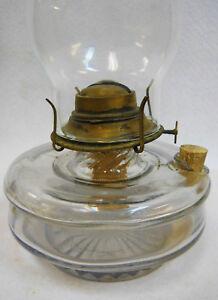 Antique glass oil / kerosene lamp -Brass Burner -Plume & Atwood Banner w/Chimney