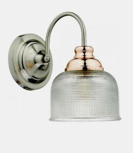 DAR - Wharfdale Wall Light in Satin Chrome Copper Detail and Glass Shade