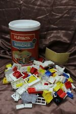 1970 Playskool Milton Bradley #525 Plastic Building Blocks Bricks in Canister #1