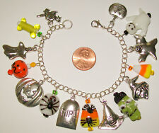 """HALLOWEEN CHARM BRACELET-HANDCRAFTED-GHOST/WITCH/OWL/SPIDER/LAMPWORK-7"""" -733"""