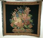 VTG Italian Woven Floral Bouquet on Column w/ Decorative Border Tapestry