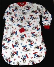 Mickey Mouse Time Clock Red White Blue L/S Flannel Nightshirt Wms M-L NWOT Rare